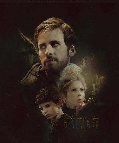Once Upon A Time wallpaper possibly containing a concert and a portrait entitled Hook, Peter Pan & Tinkerbell