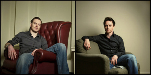 James McAvoy and Michael Fassbender wallpaper containing a business suit, a couch, and a well dressed person entitled James McAvoy & Michael Fassbender