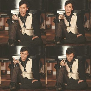 "Johnny on the set of Paul McCartney's ""Queenie Eye"""