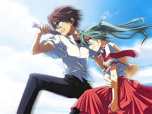 Higurashi no Naku Koro ni achtergrond entitled Keiichi & Mion