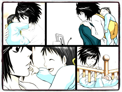 Death Note achtergrond containing anime entitled L & Baby