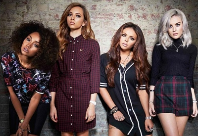 "লিট্টল মিক্স দেওয়ালপত্র possibly containing bare legs, a hip boot, and tights titled Little Mix ""Salute"" Album ছবি shoots"