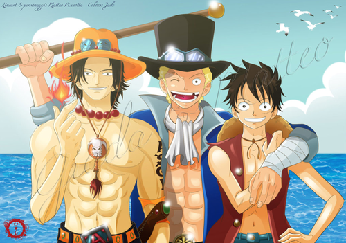 One Piece kertas dinding containing Anime entitled Luffy Ace And Sabo