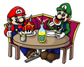 Mario & Luigi are eating - super-mario-bros photo