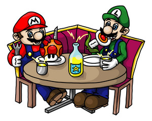 Mario & Luigi are eating