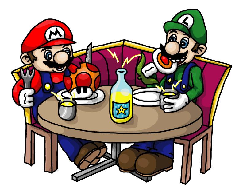 Mario & Luigi are eating