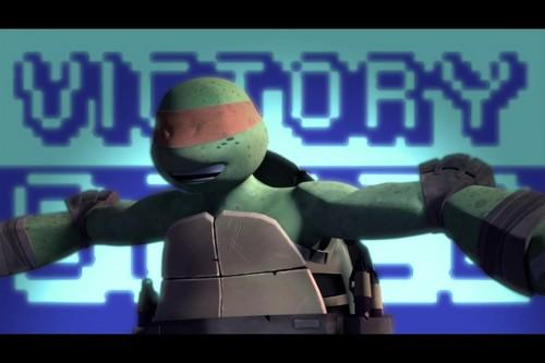 2012 Teenage Mutant Ninja Turtles wallpaper entitled Mikey's Interrupted Victory Dance