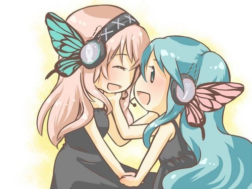 Vocaloids wallpaper with anime called Miku x luka