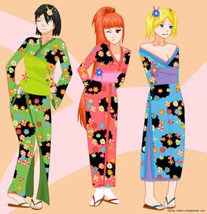 Powerpuff girls in 키모노, 기모노
