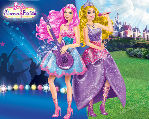 Barbie the Princess and the popstar wallpaper titled Princiss Pop Star