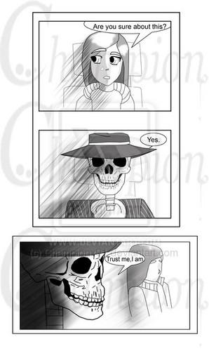 Skulduggery Pleasant fondo de pantalla possibly with sunglasses and a sign called Skulduggery comic pg1:complete: