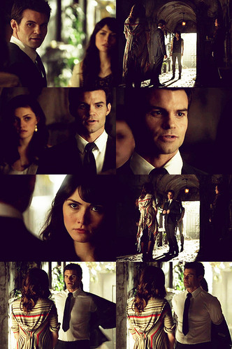 Elijah & Hayley پیپر وال possibly containing a سٹریٹ, گلی and a stained glass window entitled Sophie: If Klaus betrays us, Hayley will die. آپ have my word on that.