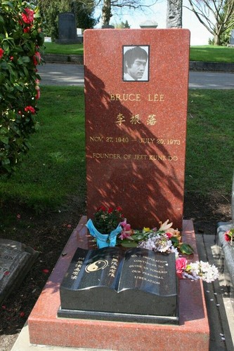 celebridades que murieron jóvenes fondo de pantalla with a sign called The Gravesite Of Bruce Lee