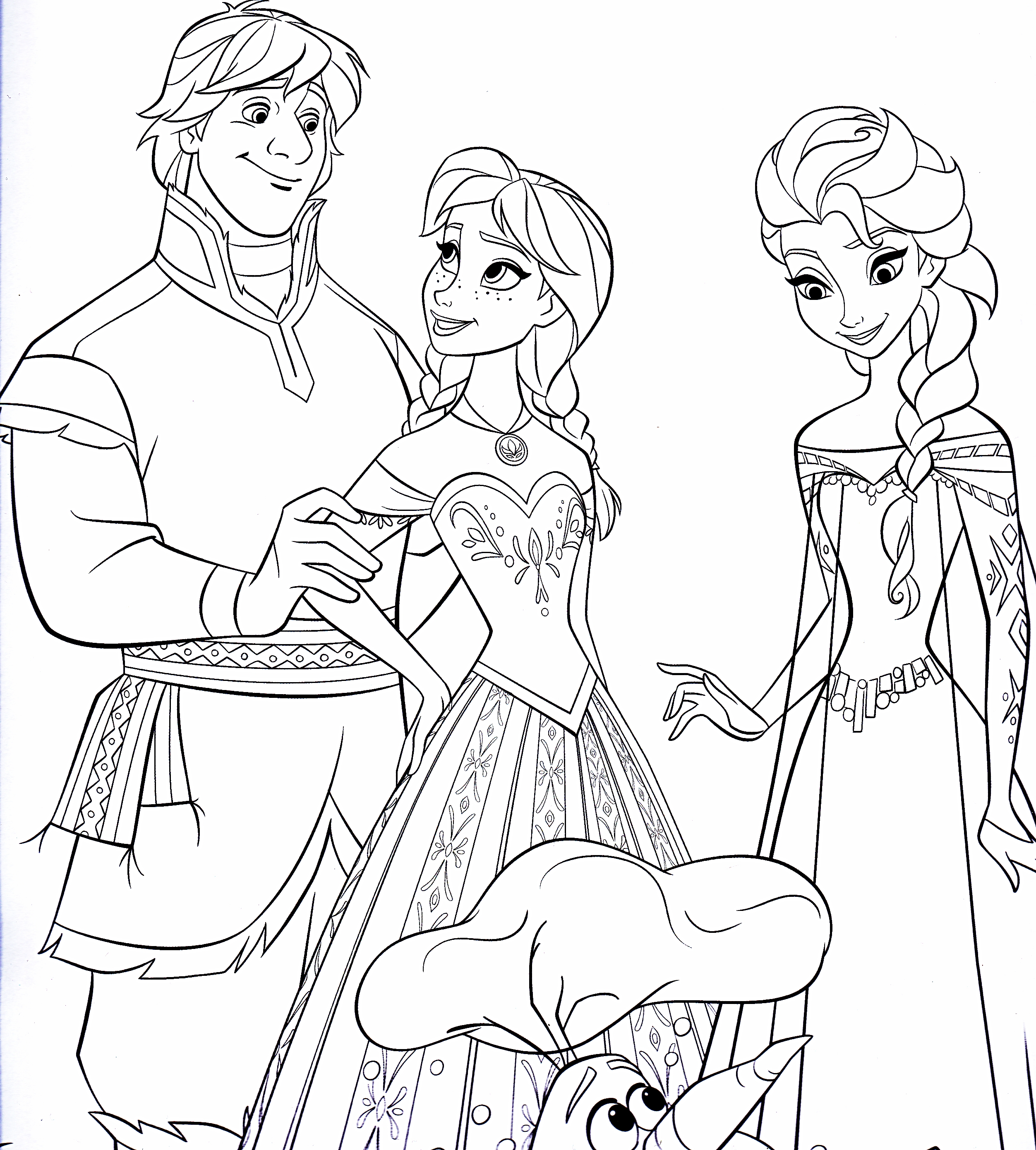 Walt Дисней Coloring Pages - Kristoff Bjorgman, Princess Anna, Queen Elsa & Olaf