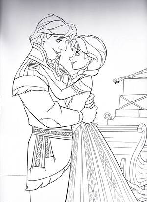 Walt Disney Coloring Pages - Kristoff & Princess Anna