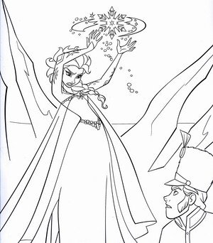 Walt Дисней Coloring Pages - Queen Elsa & Prince Hans Westerguard