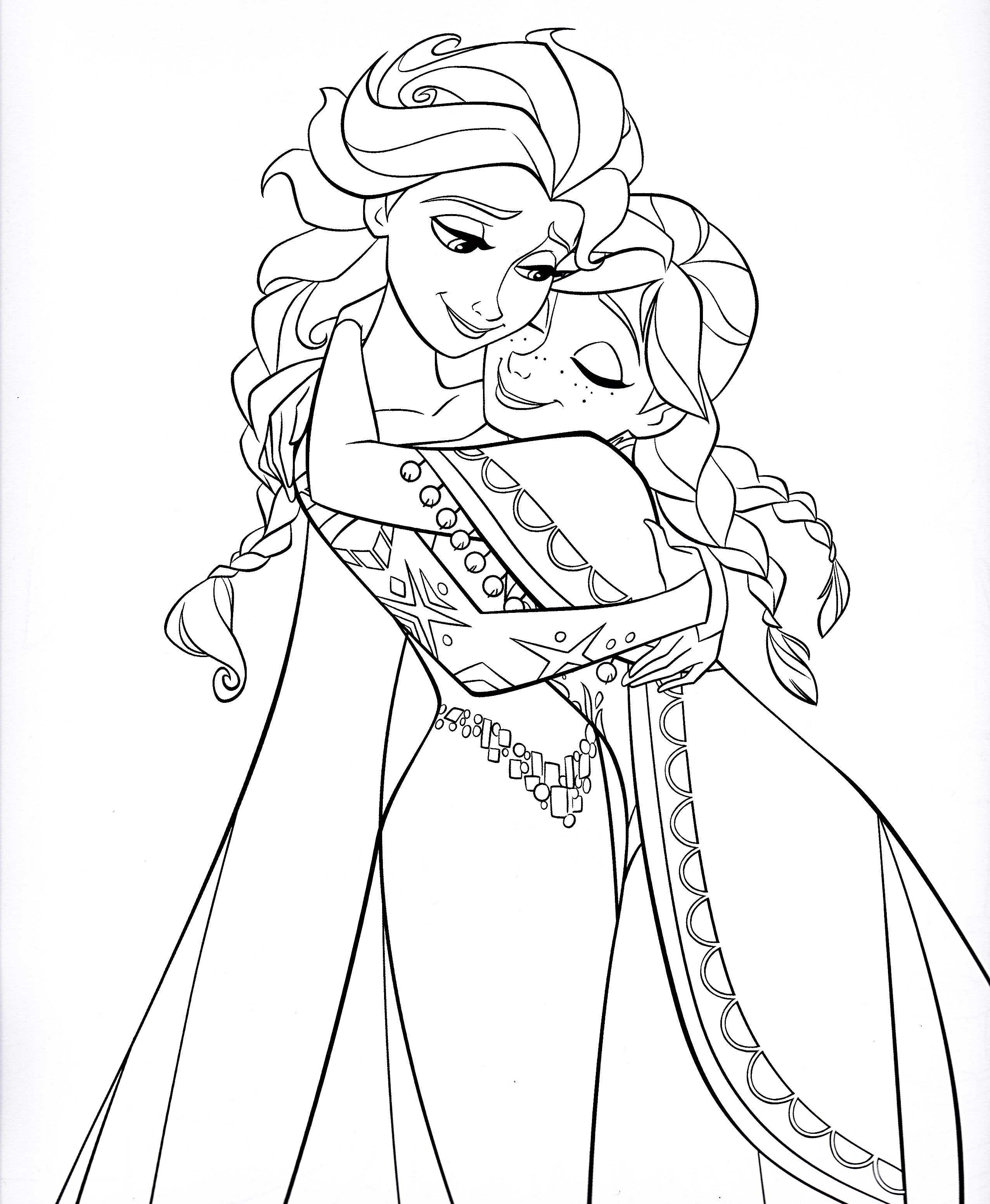 Walt ディズニー Coloring Pages - クイーン Elsa & Princess Anna