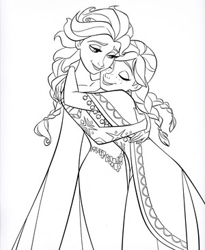 Walt ডিজনি Coloring Pages - কুইন Elsa & Princess Anna