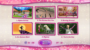 barbie & her sisters in a pony tale dvd main menu