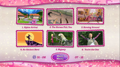 Sinema za Barbie karatasi la kupamba ukuta entitled barbie & her sisters in a gppony, pony tale dvd main menu