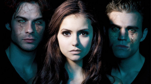 the vampire diaries tv tampil wallpaper with a portrait called damon stefan and elena