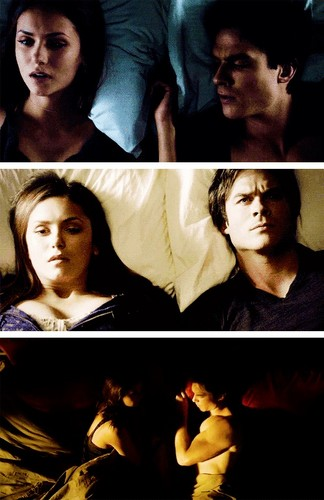 Damon & Elena wallpaper probably with a portrait called in bed
