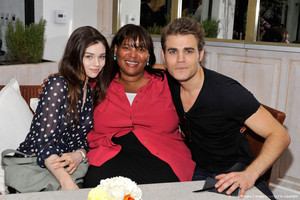 India Eisley, Lorrie Bartlett and Paul Wesley at ICM Partners Pre-Emmy brunch, brunch du 2012
