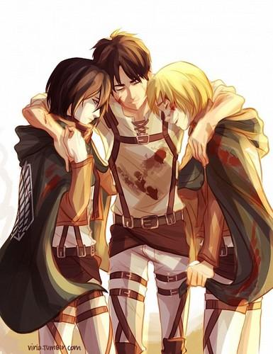 Shingeki no Kyojin (Attack on Titan) Hintergrund called ☤SnK☤(Trio)