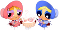 (Steamypuff Girls) Blossom and Bubbles teaparty - powerpuff-girls fan art