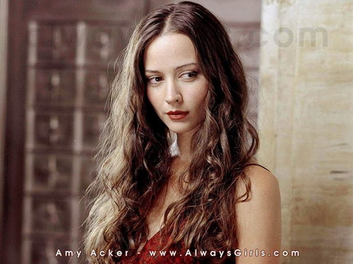 Amy Acker achtergrond with a portrait entitled Amy Acker