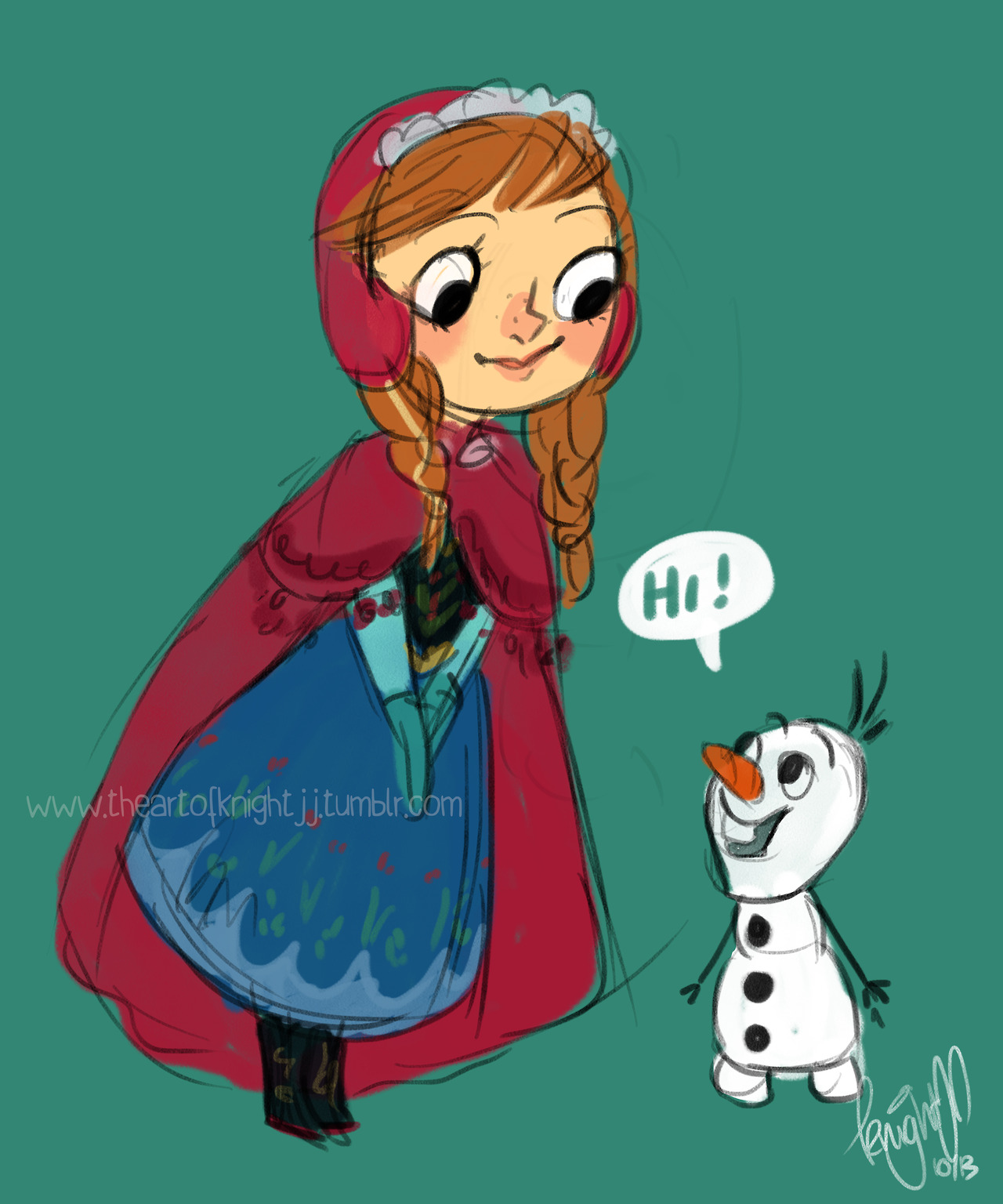 Anna and olaf frozen fan art 35957183 fanpop - Frozen anna and olaf ...