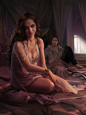 Arianne Martell and Arys Oakheart- art por Magali Villeneuve. © fantasia Flight Games