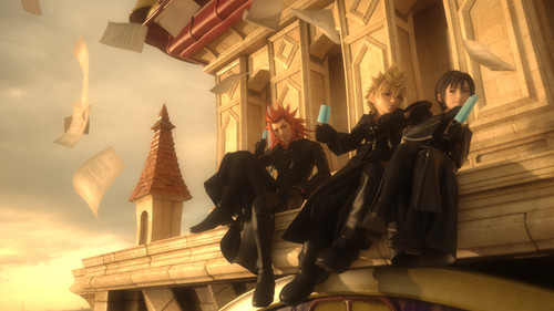Kingdom Hearts fond d'écran possibly with a street, a brownstone, and a drawing room entitled Axel, Roxas, & Xion in CGI