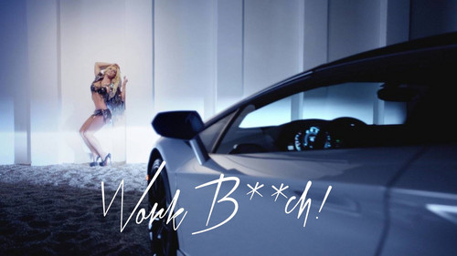 Britney Spears achtergrond possibly containing an automobile, a hatchback, and a compact titled Britney Spears Work B**ch !