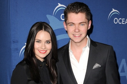Damian McGinty wallpaper possibly containing a business suit, a well dressed person, and a suit entitled Damian & Mairead Carlin at the 2013 Oceana Partners Awards in Beverly Hills