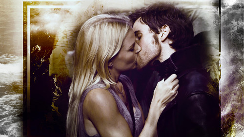 Once Upon A Time wallpaper probably containing a portrait entitled Emma Swan & Captain Hook