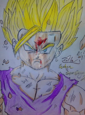 Gohan Super Saiyan level 2. (I messed up his face :'()