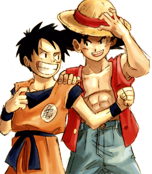 Гоку and Luffy