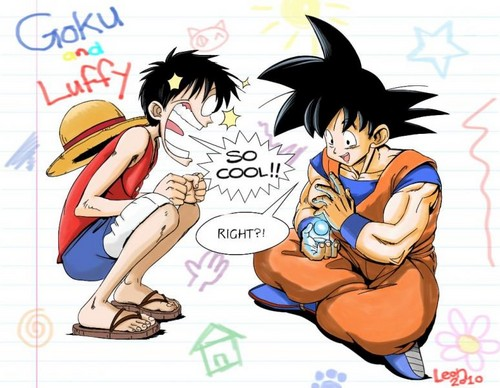 anime debat wallpaper with anime called goku and Luffy