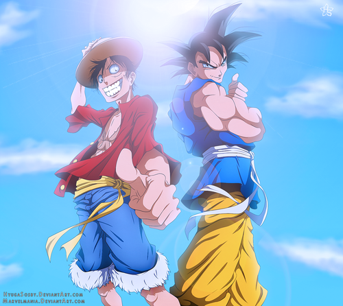 anime debat wallpaper possibly containing anime called goku and Luffy