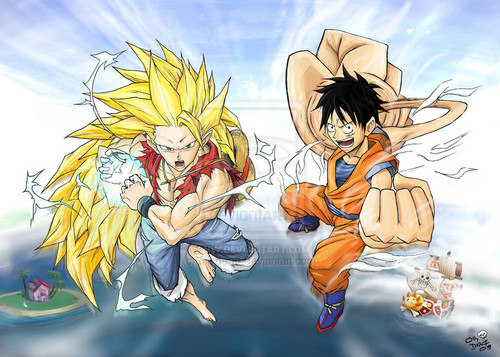 animê debate wallpaper containing animê called goku and Luffy