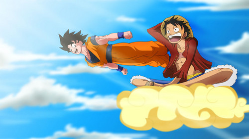 anime debat wallpaper entitled goku and Luffy