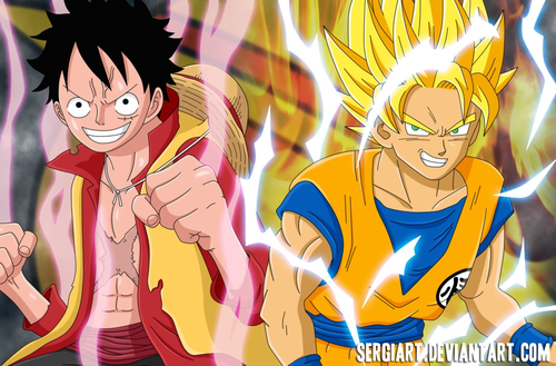 anime debat wallpaper containing anime called goku and Luffy