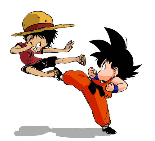 anime Debate achtergrond containing anime titled Goku and Luffy