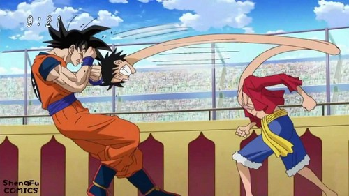 anime Debate achtergrond probably with anime entitled Goku and Luffy