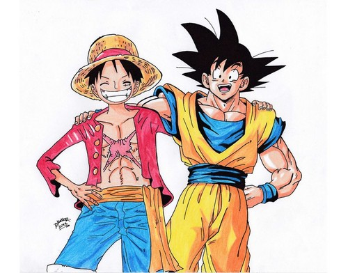 dragon ball z wallpaper with anime titled goku and Luffy