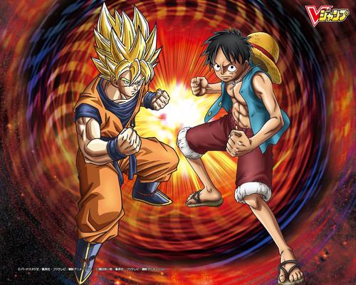 Dragon Ball Z wallpaper with anime called Goku and Luffy