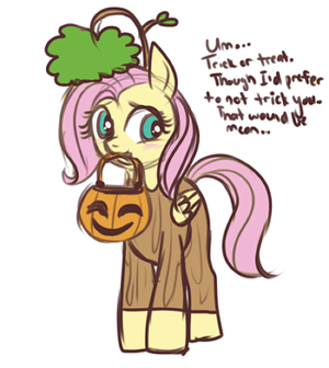 ハロウィン artist lulubell costume firsuit fluttershy nightmare_night 木, ツリー
