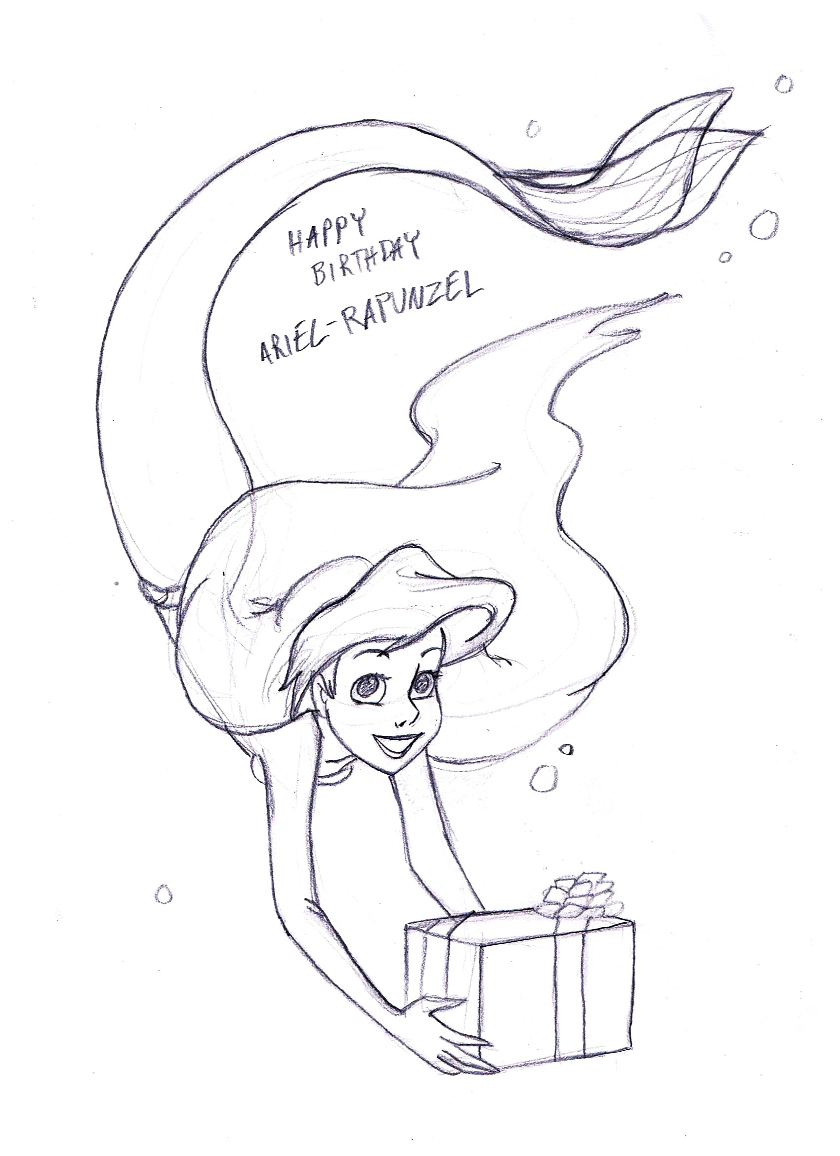 Happy Birthday Ariel Rapunzel Disney Princesas Fã Art