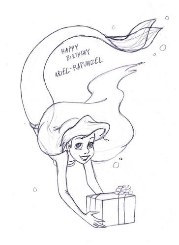 putri disney wallpaper called Happy birthday ARIEL-RAPUNZEL